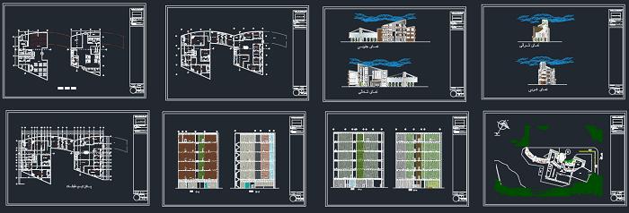پلان هتل بهمراه نماها و برشها بصورت کامل