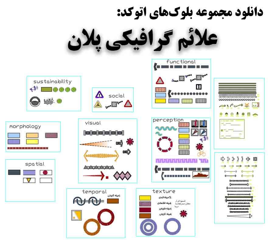 دانلود فایل اتوکد مجموعه  علائم گرافیکی پلان