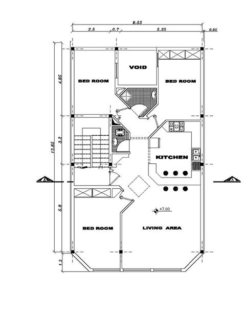 نقشه های کامل -ابعاد زمین 9 در 23- ابعاد بنا9 در 13-120متر بنا- تک واحدی-زیر زمین پارکینگ ، همکف تجاری-و اول-1نما و 1برش - 2طبقه روی همکف