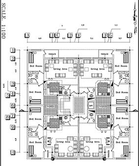 نقشه های کامل آپارتمان -ابعاد 20 در 21- 400 متر بنا- 4