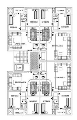 پلان مسکونی-280 متری- ابعاد13 در 21-دو واحدی -پارکیگ به علاوه 3 آلترناتیو برای پلان مسکونی