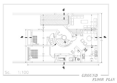 ویلایی دو طبقه-ابعاد 11 در 16-170 متر بنا-دو برش با پله گرد
