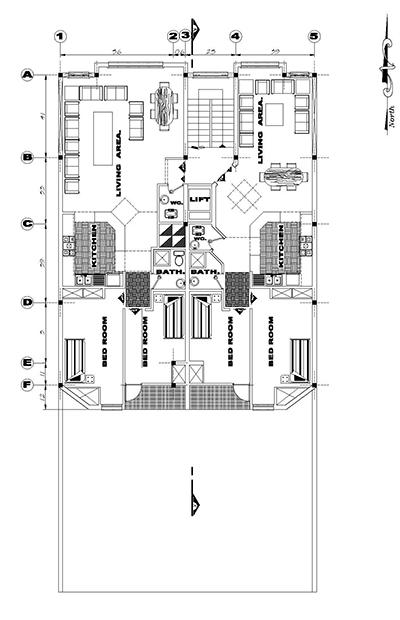 اپارتمان زمین 12 در25-بنا12در17- 210متر-دو واحدی دوخوابه-2نما یک برش پلان زیر زمین و همکف(پارکینگ)وتیپ طبقات و تیر ریزی (1)