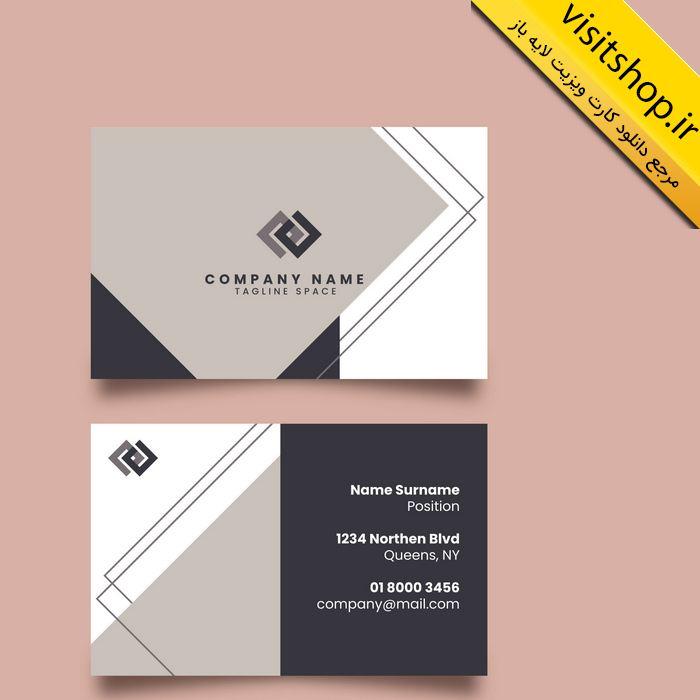 دانلود کارت ویزیت لایه باز حرفه ای سیاه و سفید طوسی نقره ای شرکتی رسمی سنگین طراحی