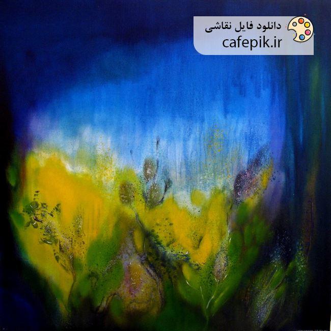 دانلود نقاشی مدرن شماره 2 آبستره آبی گل