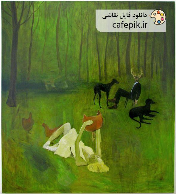 دانلود نقاشی مدرن شماره 7 جنگل گوزن مرغ زن
