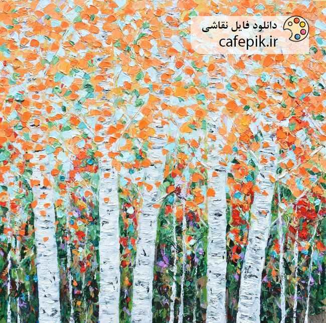 دانلود نقاشی مدرن شماره 210  درختان زیبا با برگ هاش نارنجی پاییز