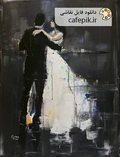 دانلود تابلو نقاشی مدرن شماره 867  عروس و داماد دختر و پسر