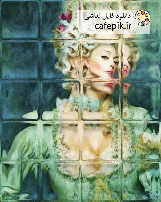 دانلود تابلو نقاشی مدرن شماره 1050 شکل زن زیبا آینه فانتزی