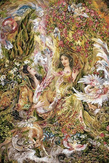 نقشه ی تابلو فرش دستباف طرح مینیاتور دختر نوازنده ی سه تار