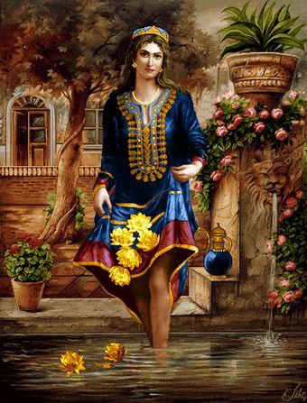 دانلود رایگان فایل نقشه ی کامپیوتری فرش دستبافت طرح زن زیبای ایرانی با لباس سنتی