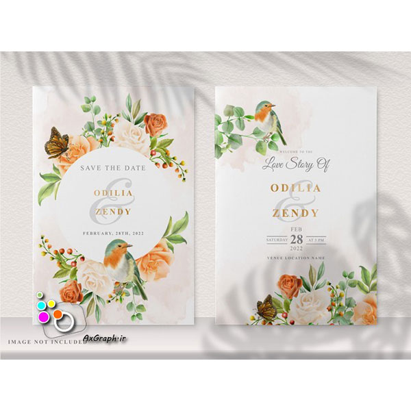 وکتور کارت دعوت طرح گل و پرنده -کد 353
