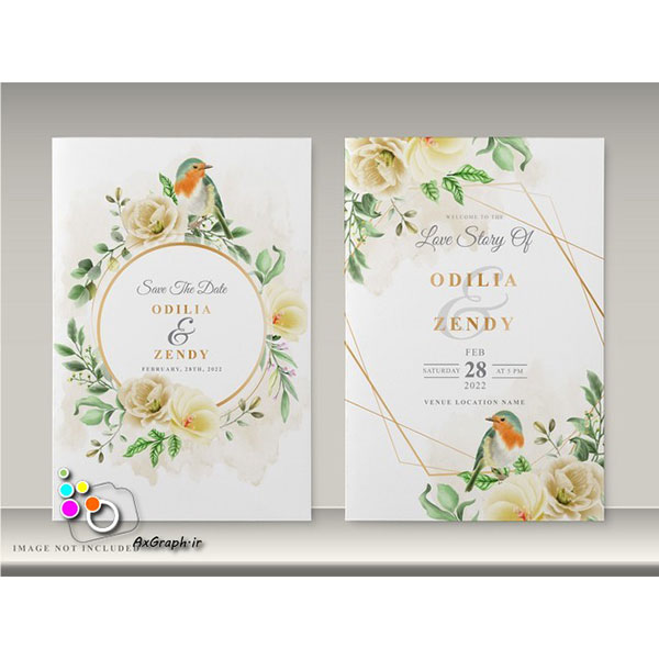 وکتور کارت دعوت طرح گل و پرنده -کد 356