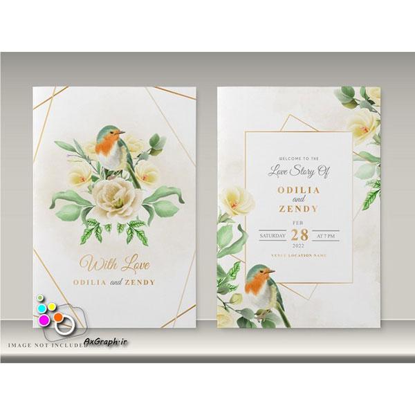 وکتور کارت دعوت طرح گل و پرنده -کد 358