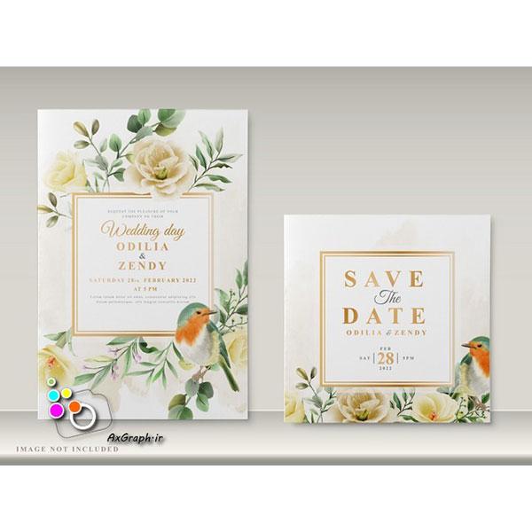 وکتور کارت دعوت طرح گل و پرنده -کد 359