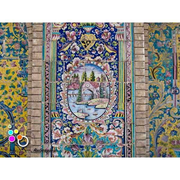 دانلود تصویر با کیفیت نمایی از کاشیکاری کاخ گلستان-کد 2155