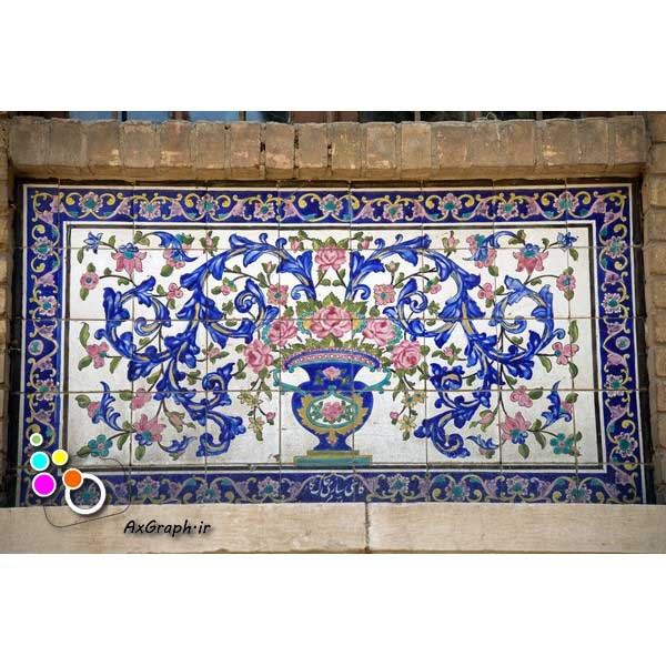 دانلود تصویر با کیفیت نمایی از کاشیکاری کاخ گلستان-کد 2157