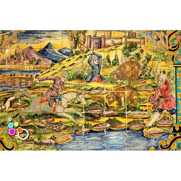 دانلود تصویر با کیفیت نمایی از کاشیکاری کاخ گلستان با تصویر شکارگاه-کد 2166