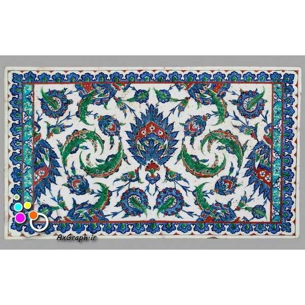 دانلود تصویر با کیفیت نمایی از کاشیکاری قدیمی با نقش گل شاه عباسی و شعله -کد 2168