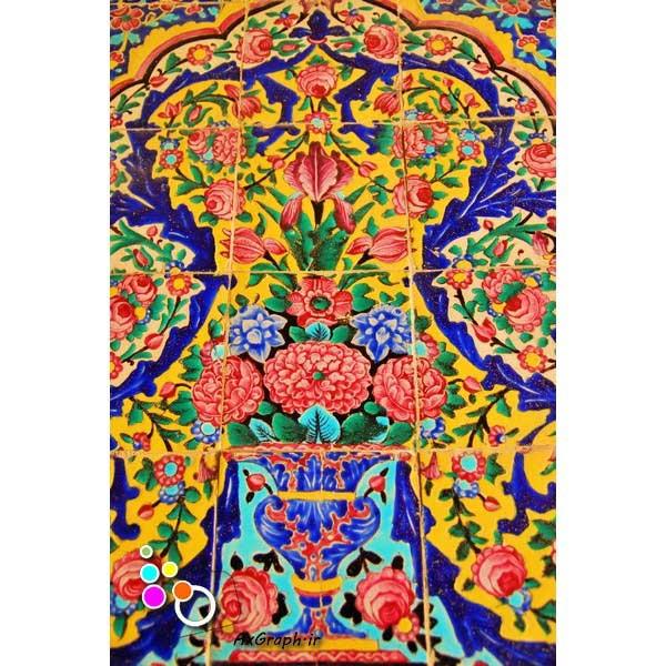 دانلود تصویر با کیفیت نمایی از کاشی کاری مسجد نصیر الملک-کد 2187