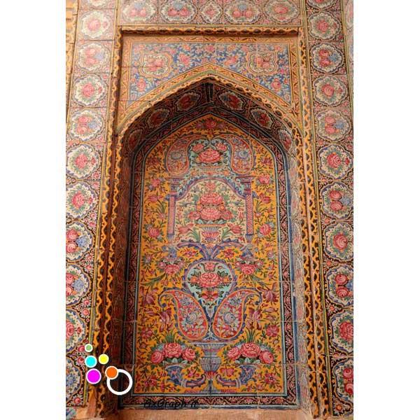 دانلود تصویر با کیفیت نمایی از کاشی کاری مسجد نصیر الملک -کد 2191