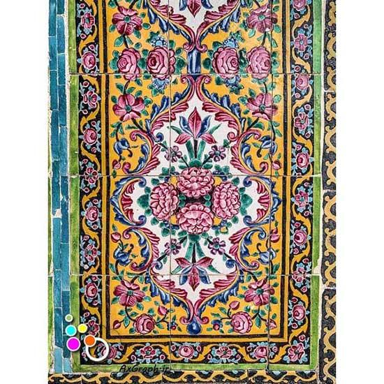 دانلود تصویر با کیفیت نمایی از کاشی کاری مسجد نصیر الملک-کد 2193