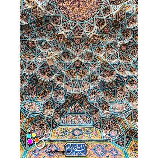 دانلود تصویر با کیفیت نمایی از مقرنس کاری مسجد نصیر الملک -کد 2194