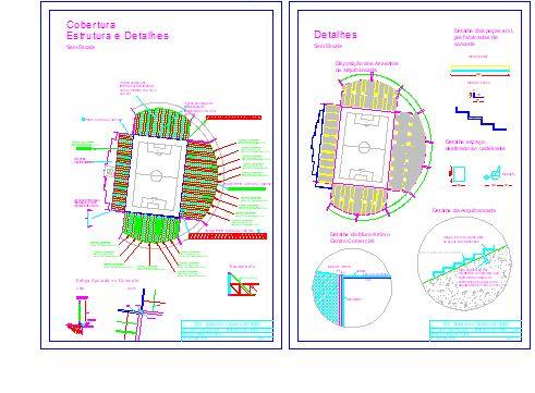 نقشه کامل اتوکد استادیوم فوتبال